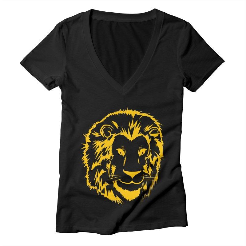 Yellow lion Women's Deep V-Neck V-Neck by Synner Design