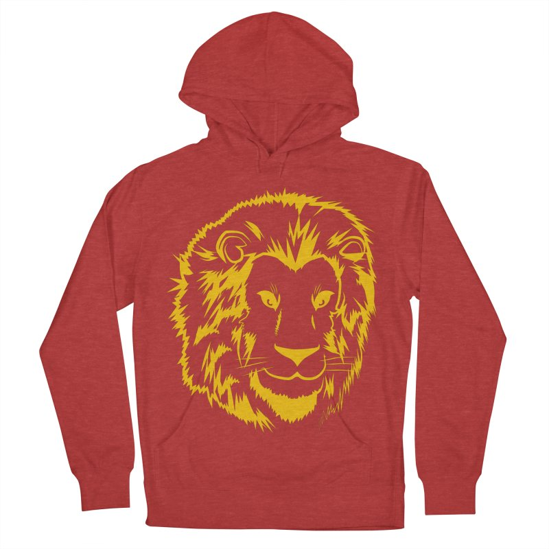 Yellow lion Women's French Terry Pullover Hoody by Synner Design