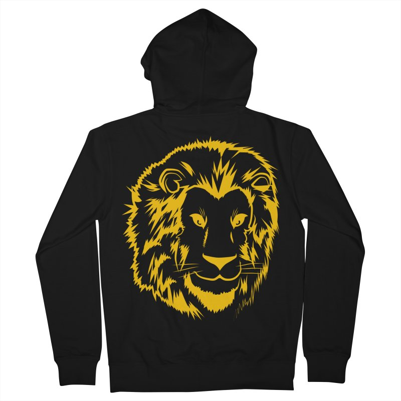 Yellow lion Men's French Terry Zip-Up Hoody by Synner Design
