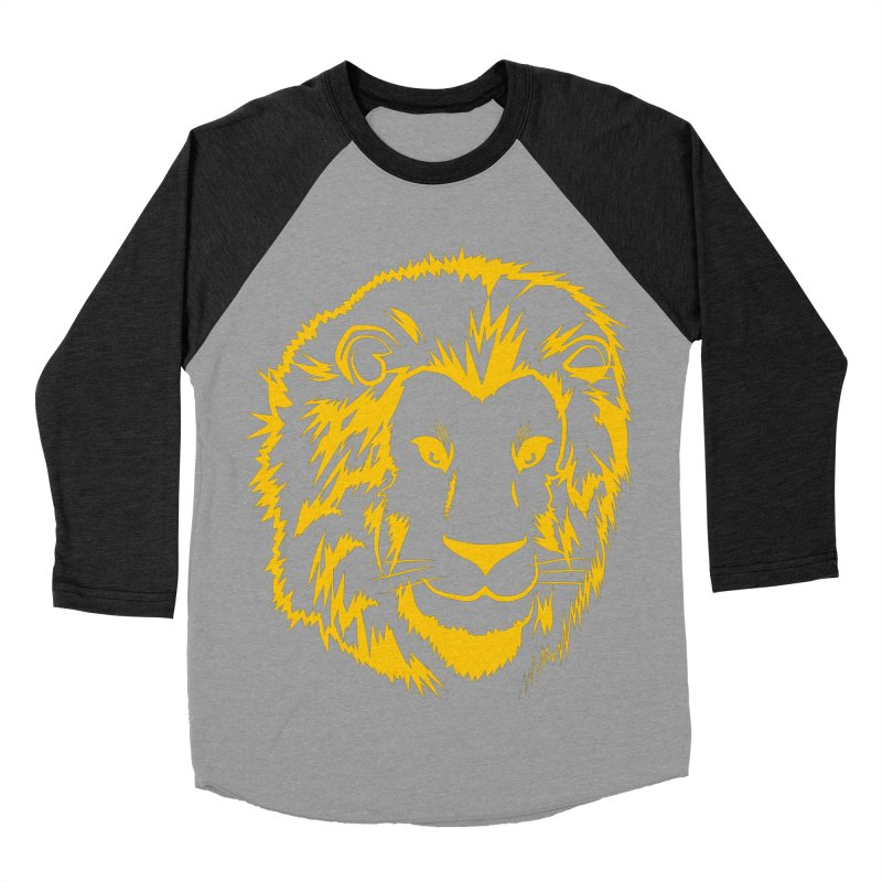 Yellow lion Women's Baseball Triblend Longsleeve T-Shirt by Synner Design
