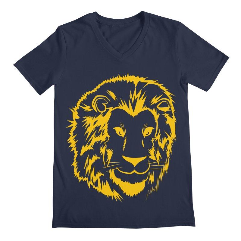 Yellow lion Men's V-Neck by Synner Design