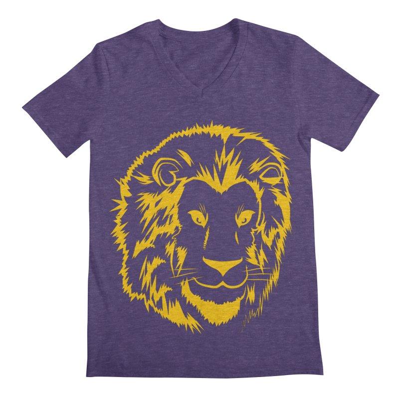 Yellow lion Men's Regular V-Neck by Synner Design