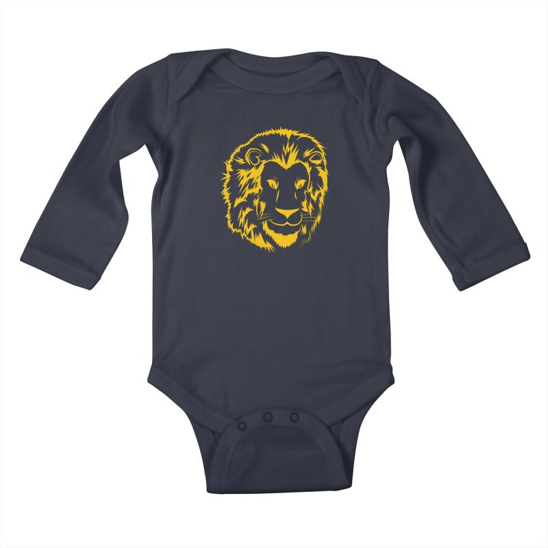Yellow lion Kids Baby Longsleeve Bodysuit by Synner Design