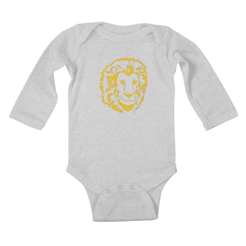 Yellow lion Kids Baby Longsleeve Bodysuit by Synner Design