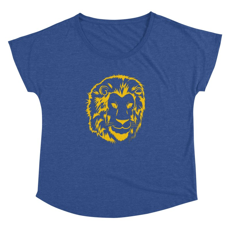 Yellow lion Women's Dolman Scoop Neck by Synner Design