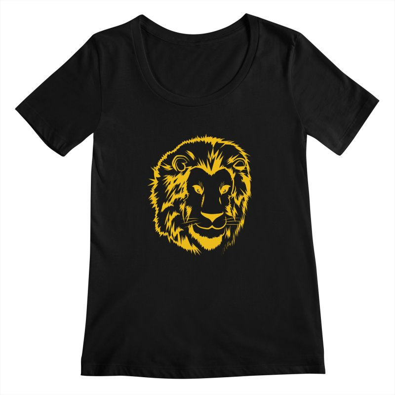 Yellow lion Women's Scoopneck by Synner Design