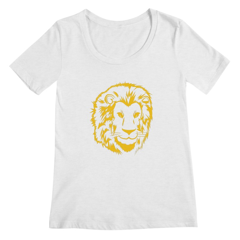 Yellow lion Women's Regular Scoop Neck by Synner Design