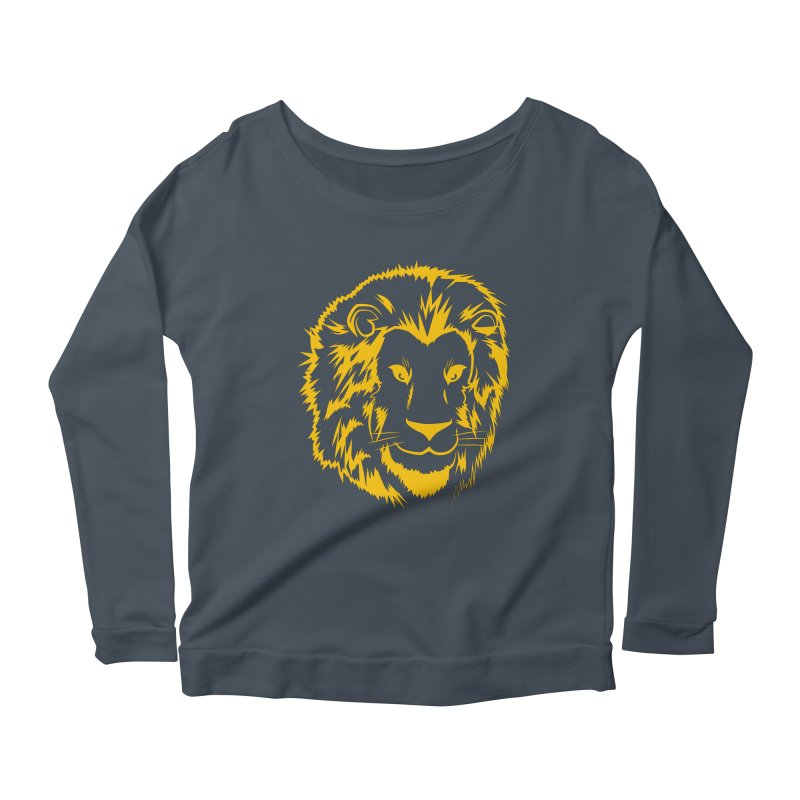 Yellow lion Women's Longsleeve Scoopneck  by Synner Design