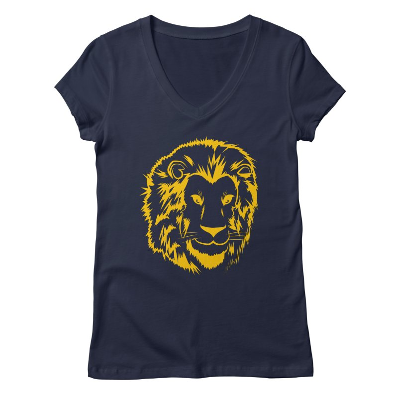 Yellow lion Women's Regular V-Neck by Synner Design