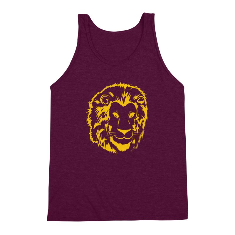Yellow lion Men's Triblend Tank by Synner Design