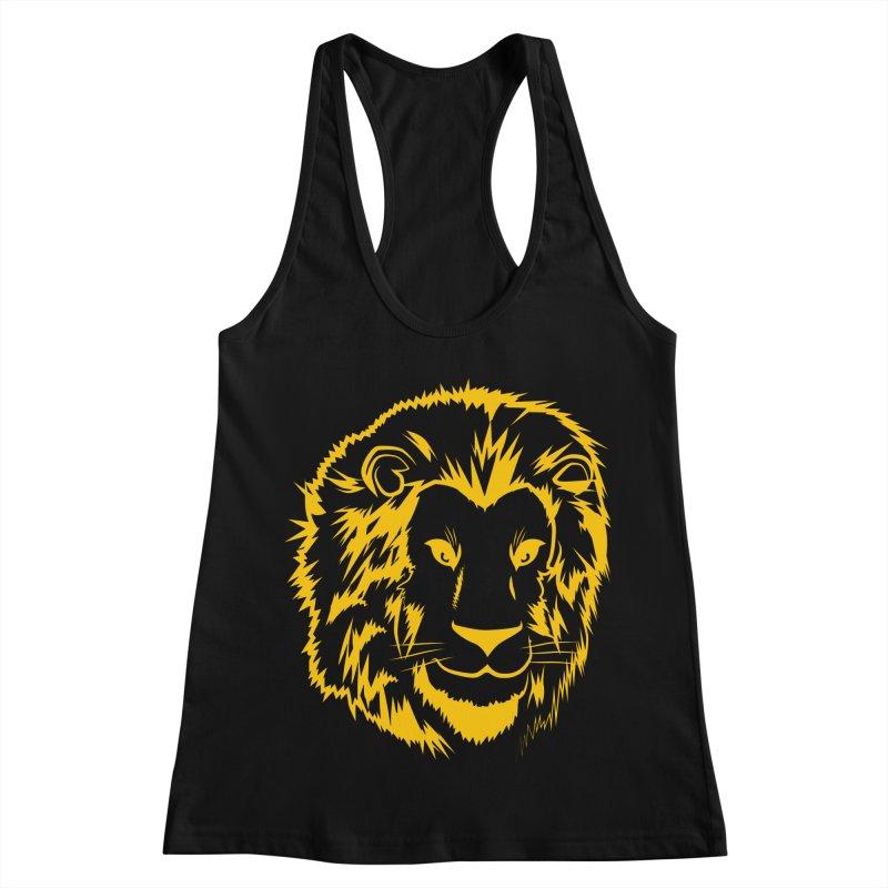 Yellow lion Women's Racerback Tank by Synner Design