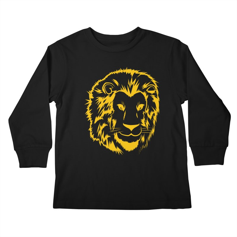 Yellow lion Kids Longsleeve T-Shirt by Synner Design