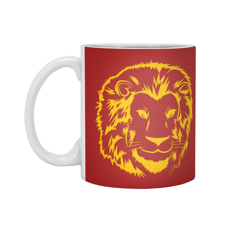 Yellow lion Accessories Mug by Synner Design