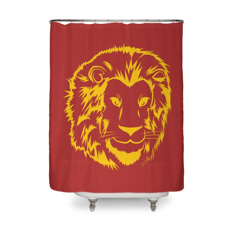 Yellow lion Home Shower Curtain by Synner Design