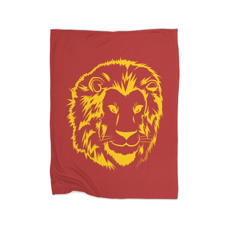 Yellow lion Home Fleece Blanket Blanket by Synner Design