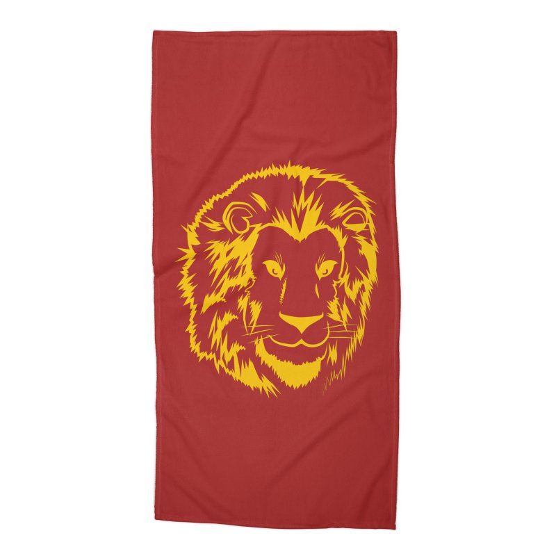 Yellow lion Accessories Beach Towel by Synner Design