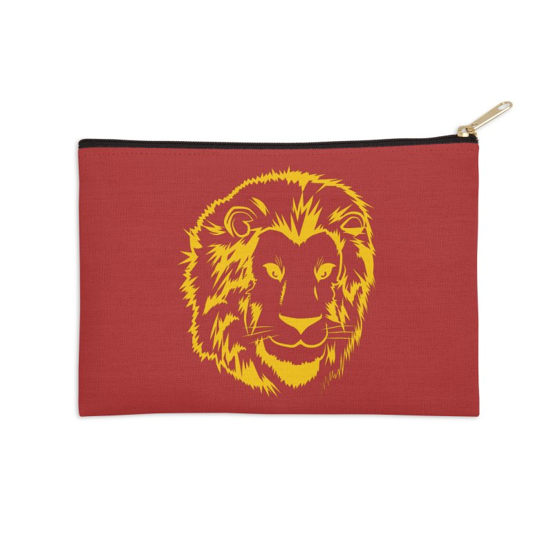 Yellow lion Accessories Zip Pouch by Synner Design