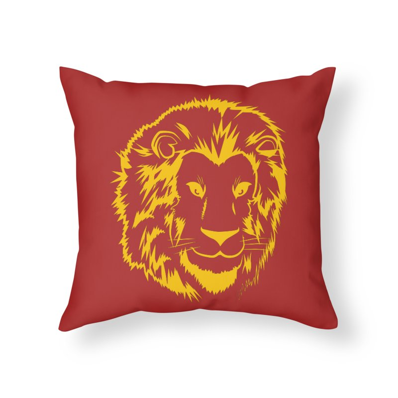 Yellow lion Home Throw Pillow by Synner Design