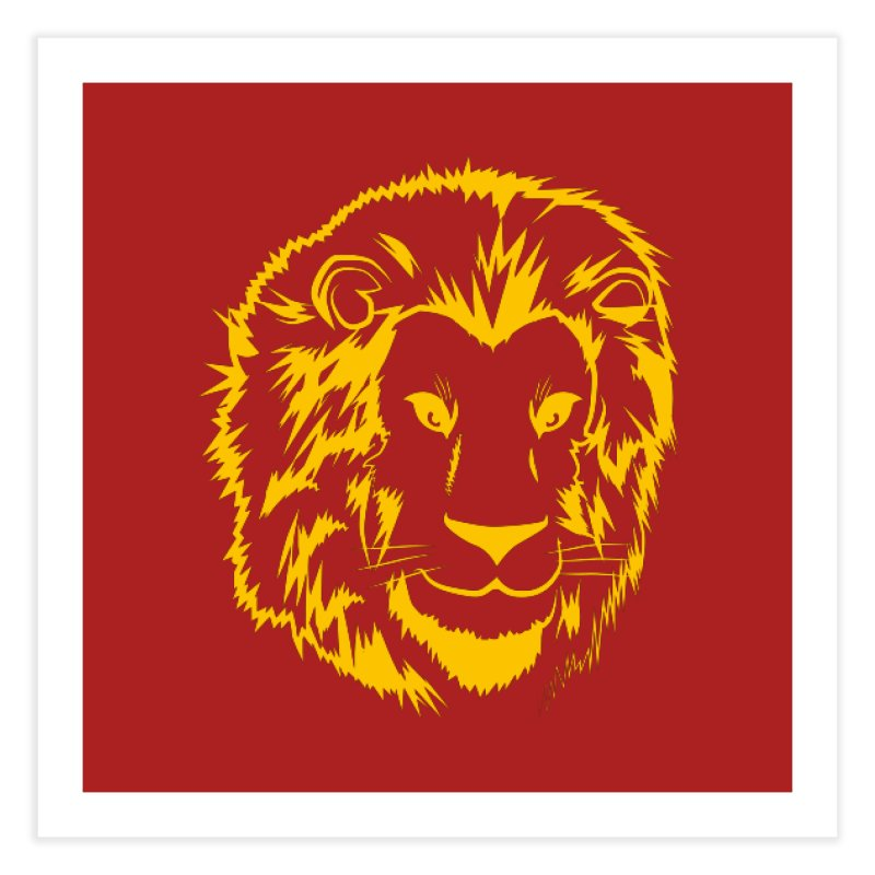 Yellow lion Home Fine Art Print by Synner Design