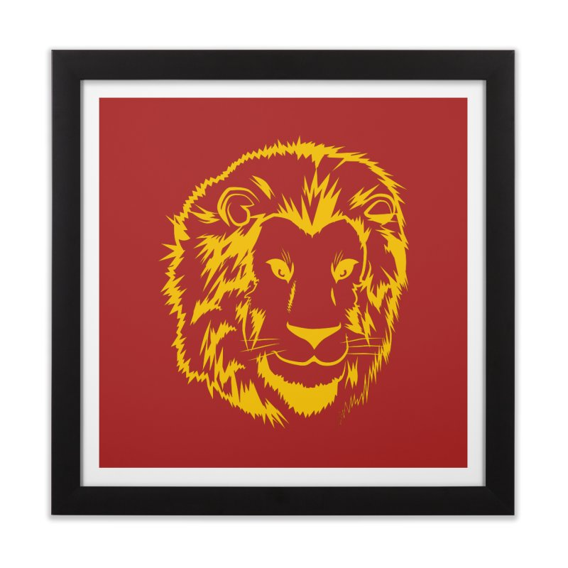 Yellow lion Home Framed Fine Art Print by Synner Design