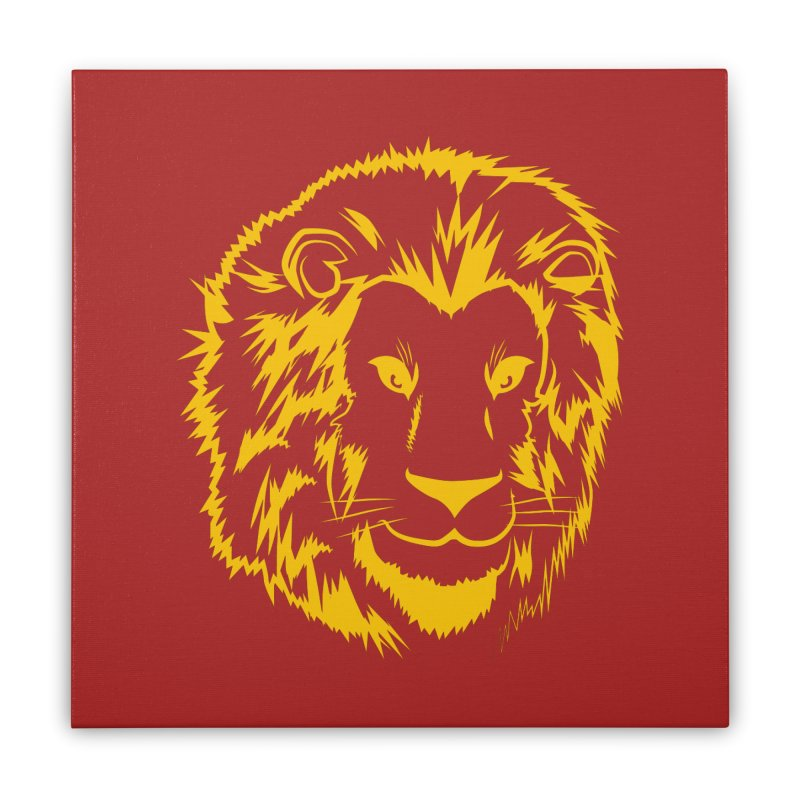Yellow lion Home Stretched Canvas by Synner Design