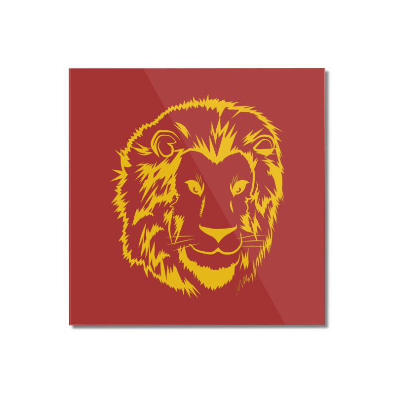 Yellow lion Home Mounted Acrylic Print by Synner Design