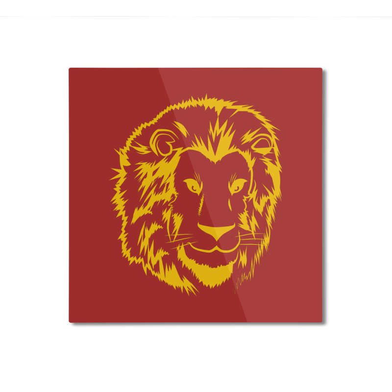Yellow lion Home Mounted Aluminum Print by Synner Design