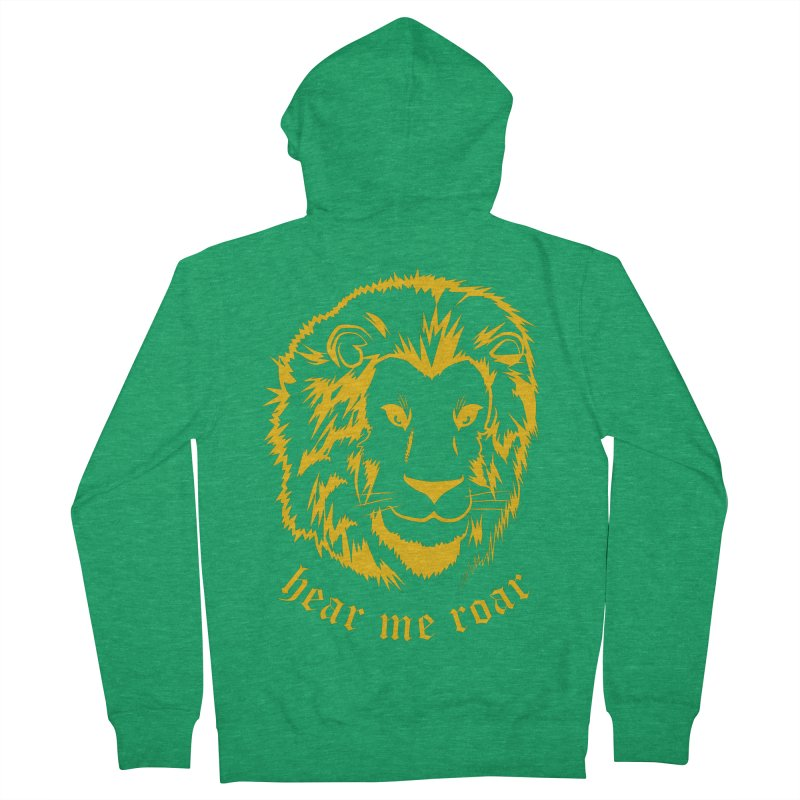 Yellow lion Men's Zip-Up Hoody by Synner Design