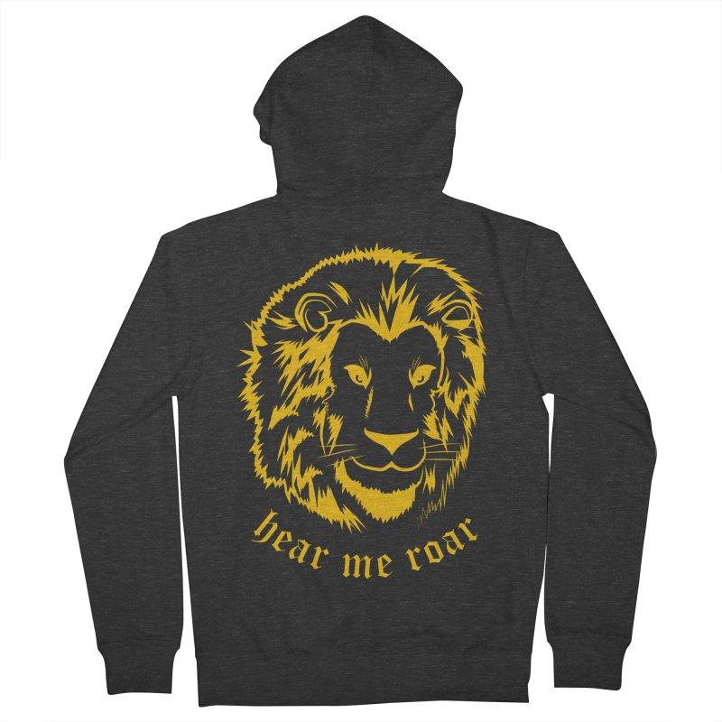 Yellow lion Men's Zip-Up Hoody by Synner Design