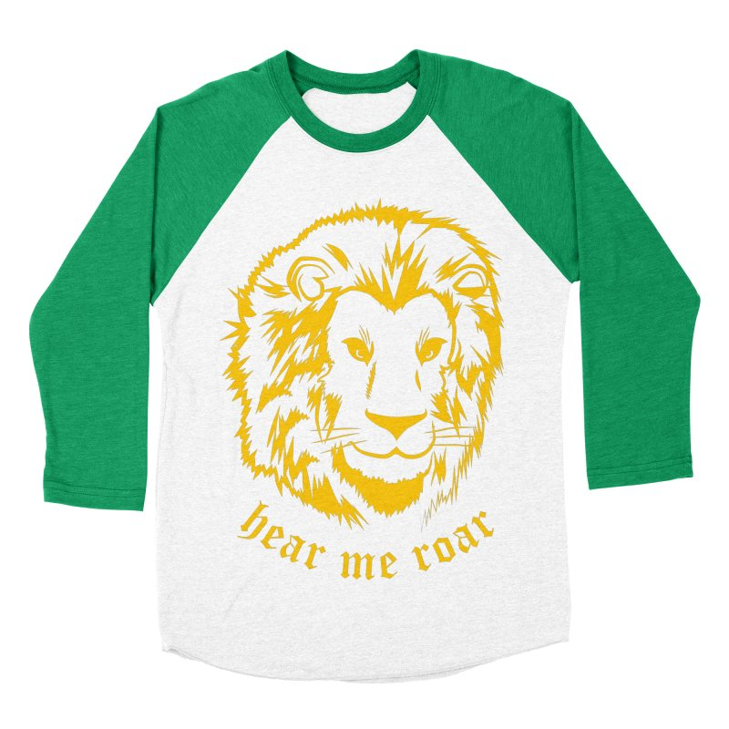 Yellow lion Women's Baseball Triblend T-Shirt by Synner Design