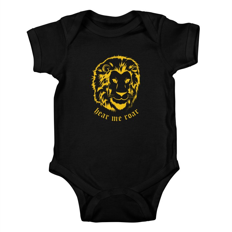 Yellow lion Kids Baby Bodysuit by Synner Design