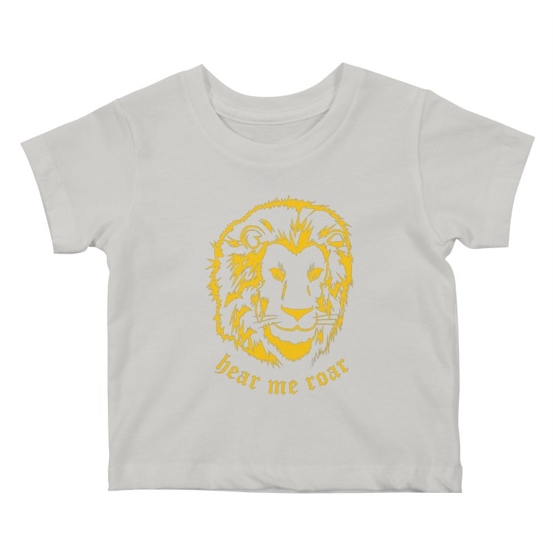 Yellow lion Kids Baby T-Shirt by Synner Design