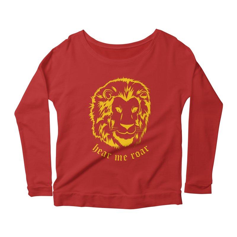Yellow lion Women's Longsleeve Scoopneck  by Synner Design