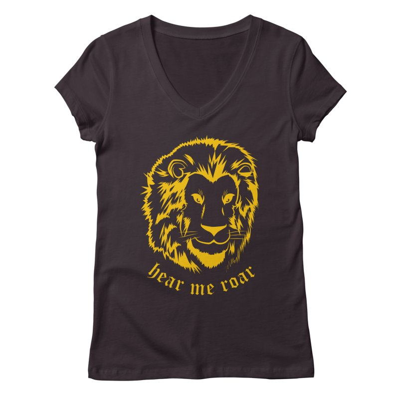 Yellow lion Women's V-Neck by Synner Design