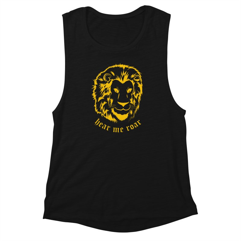Yellow lion Women's Muscle Tank by Synner Design
