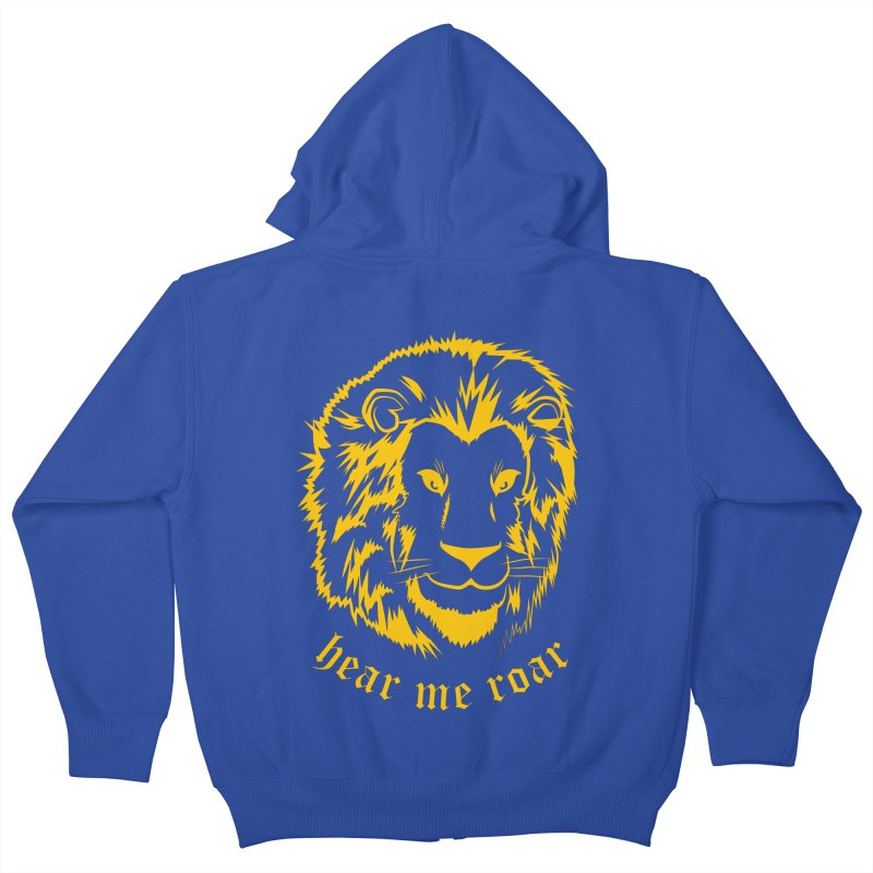 Yellow lion Kids Zip-Up Hoody by Synner Design
