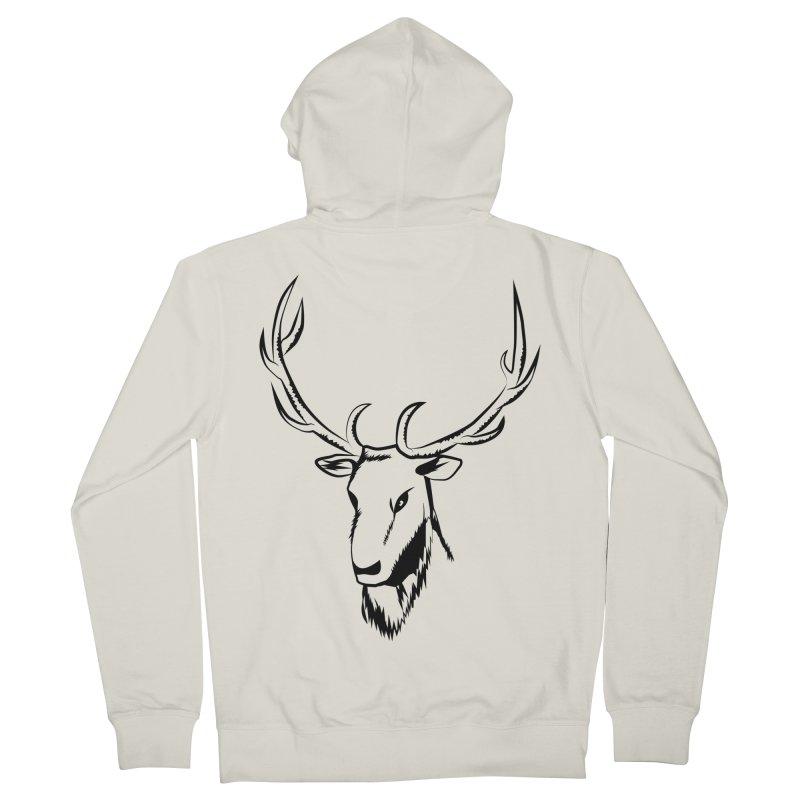 Deer Fury Men's French Terry Zip-Up Hoody by Synner Design
