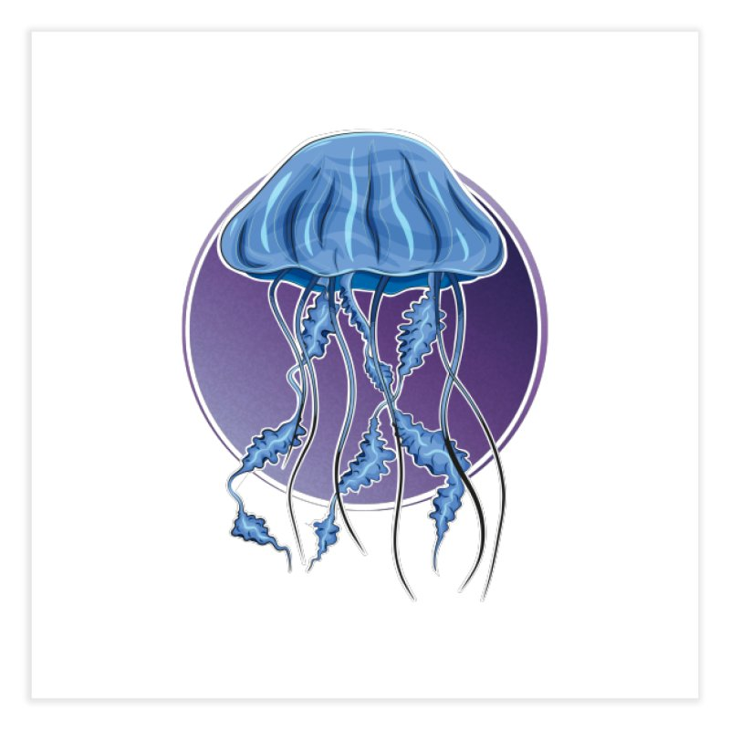 Jellyfish in purple Home Fine Art Print by Synner Design