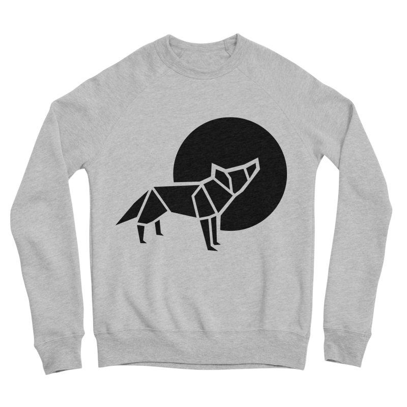 Black wolf origami Men's Sponge Fleece Sweatshirt by Synner Design