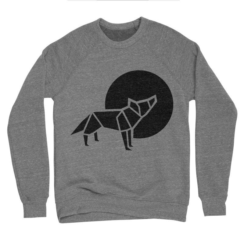 Black wolf origami Women's Sponge Fleece Sweatshirt by Synner Design