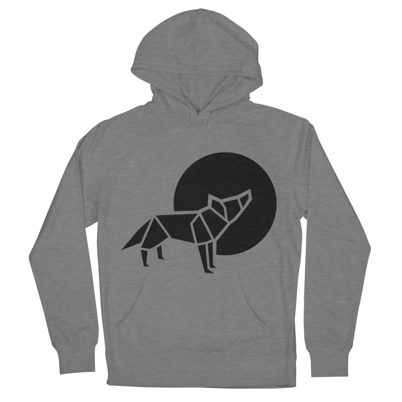 Black wolf origami Women's Pullover Hoody by Synner Design