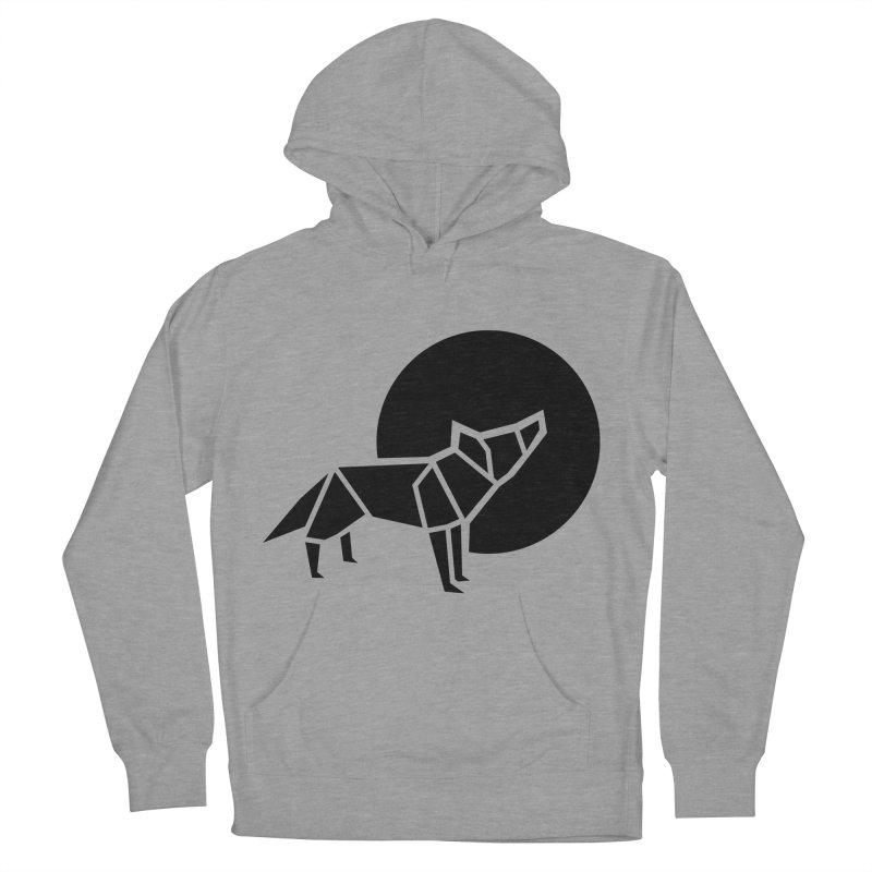 Black wolf origami Women's French Terry Pullover Hoody by Synner Design