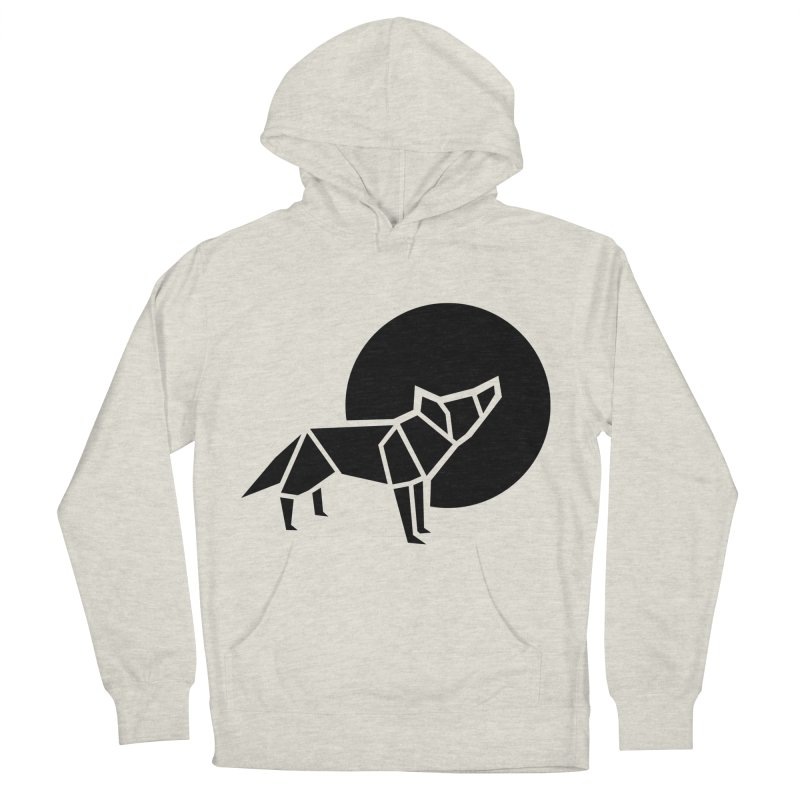 Black wolf origami Men's Pullover Hoody by Synner Design