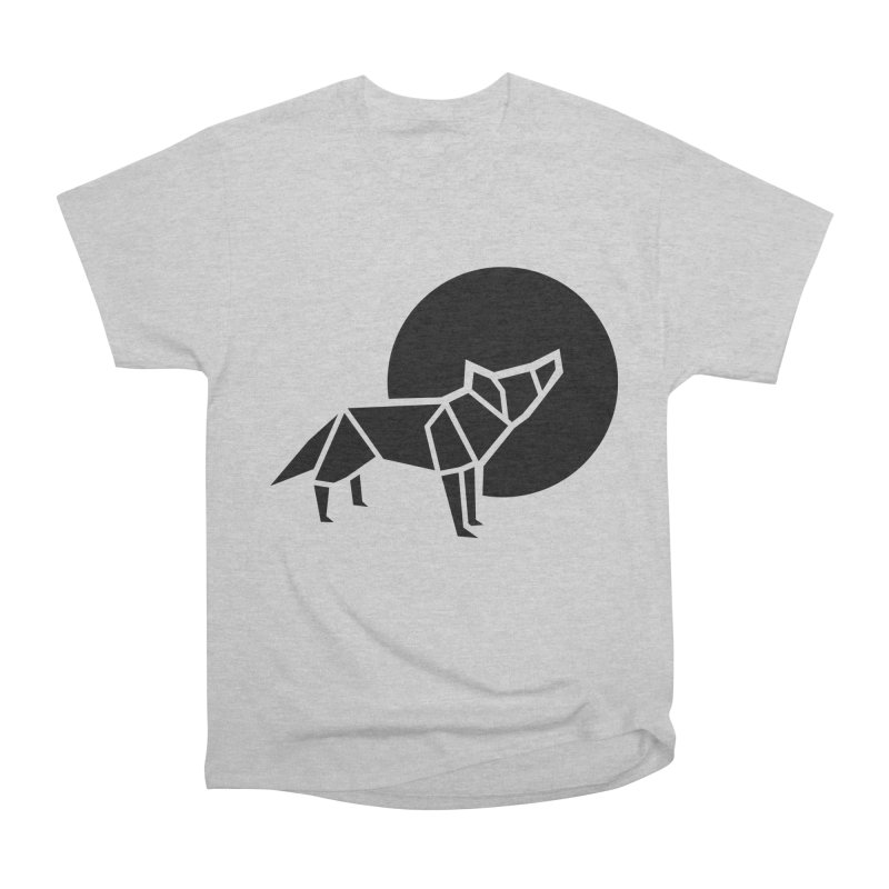 Black wolf origami Women's Heavyweight Unisex T-Shirt by Synner Design