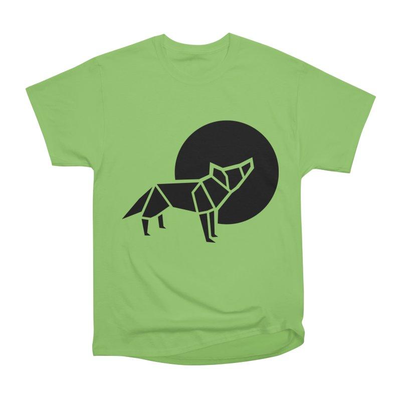 Black wolf origami Women's Heavyweight Unisex T-Shirt by Synner Design
