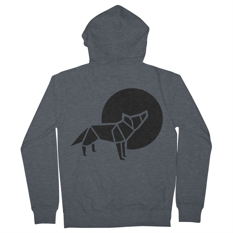 Black wolf origami Women's French Terry Zip-Up Hoody by Synner Design