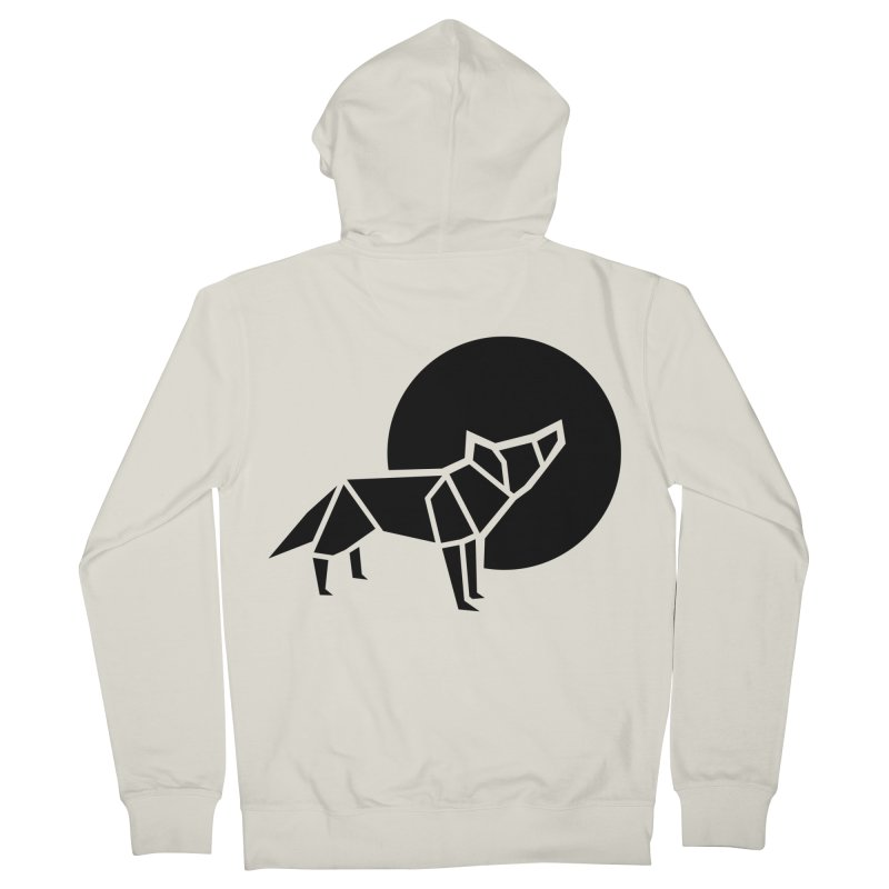 Black wolf origami Women's Zip-Up Hoody by Synner Design