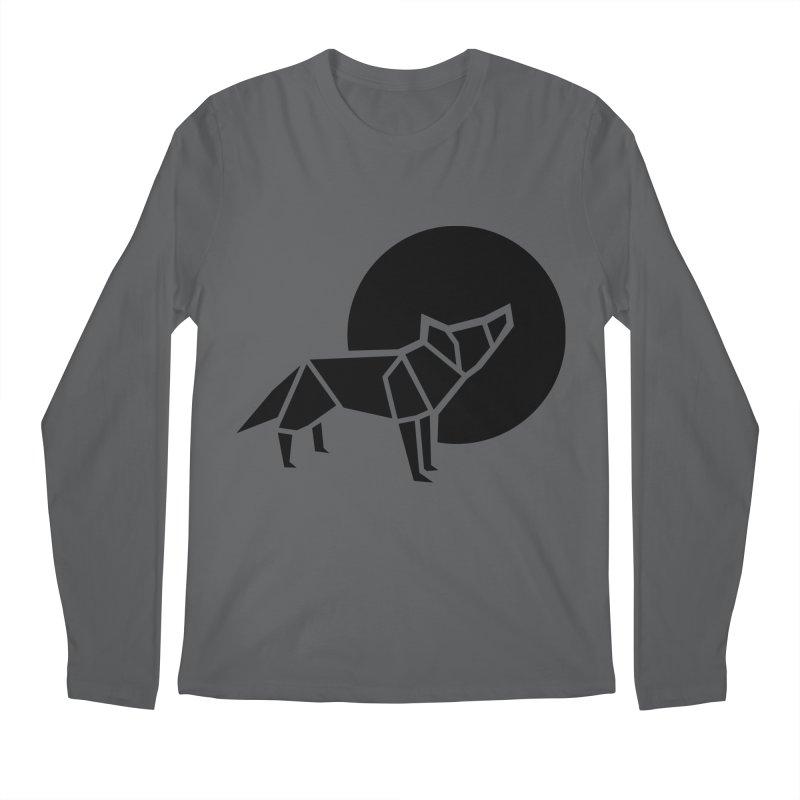 Black wolf origami Men's Longsleeve T-Shirt by Synner Design