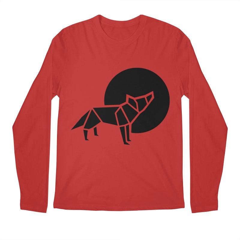 Black wolf origami Men's Regular Longsleeve T-Shirt by Synner Design