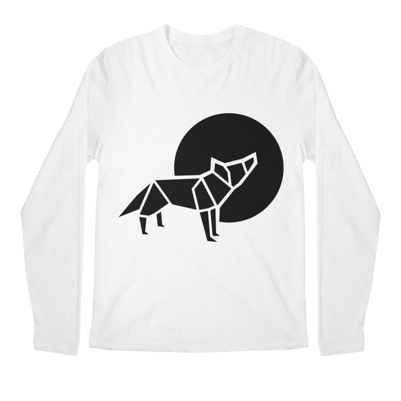 Black wolf origami Men's Regular Longsleeve T-Shirt by Synner Design